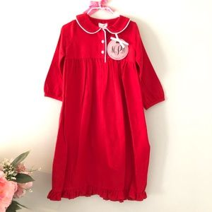 Red girls holiday winter nightgown
